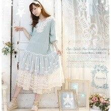 Рокабилли повседневное японское Бохо милое богемное вязаное крючком хлопковое льняное кружевное лоскутное Vetement Femme свободное женское весеннее платье