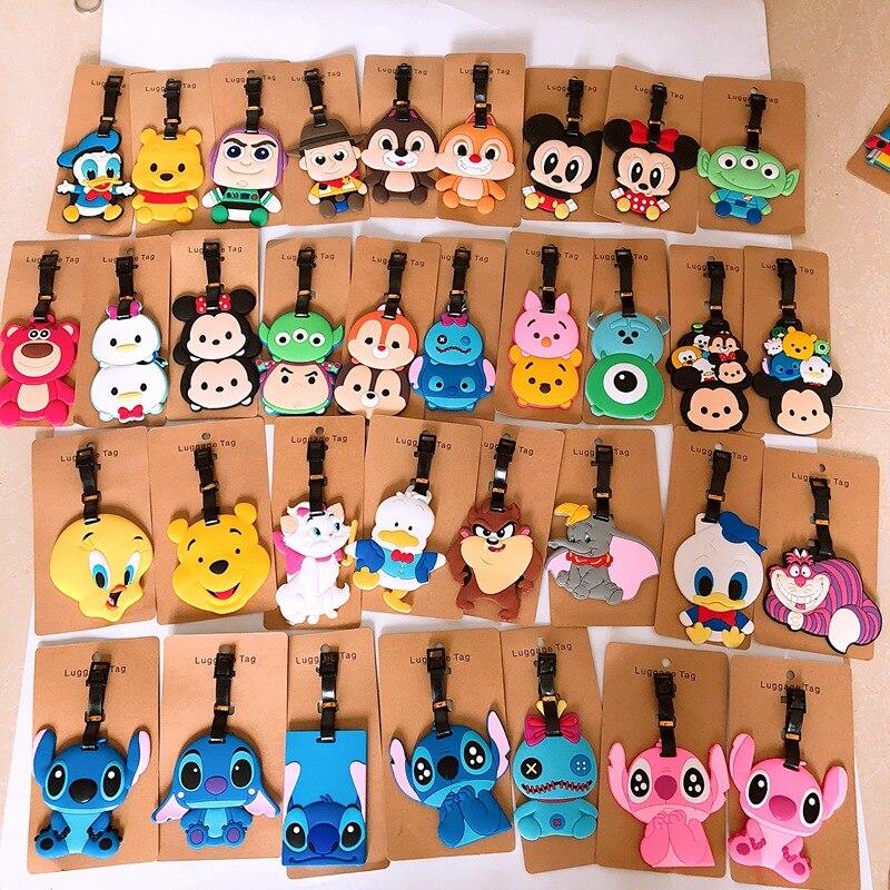 Luggage Tag Donald Duck Stitch Mini Tweety Bear Bears Cartoon Luggage Tag Passes Checked Baggage Tag KT Cat Key Board