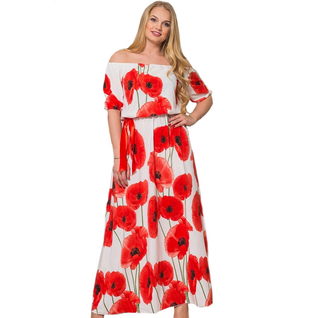 New Flower Plus Size Maxi Dress Women Cute Slash Neck Drop Shoulder ...