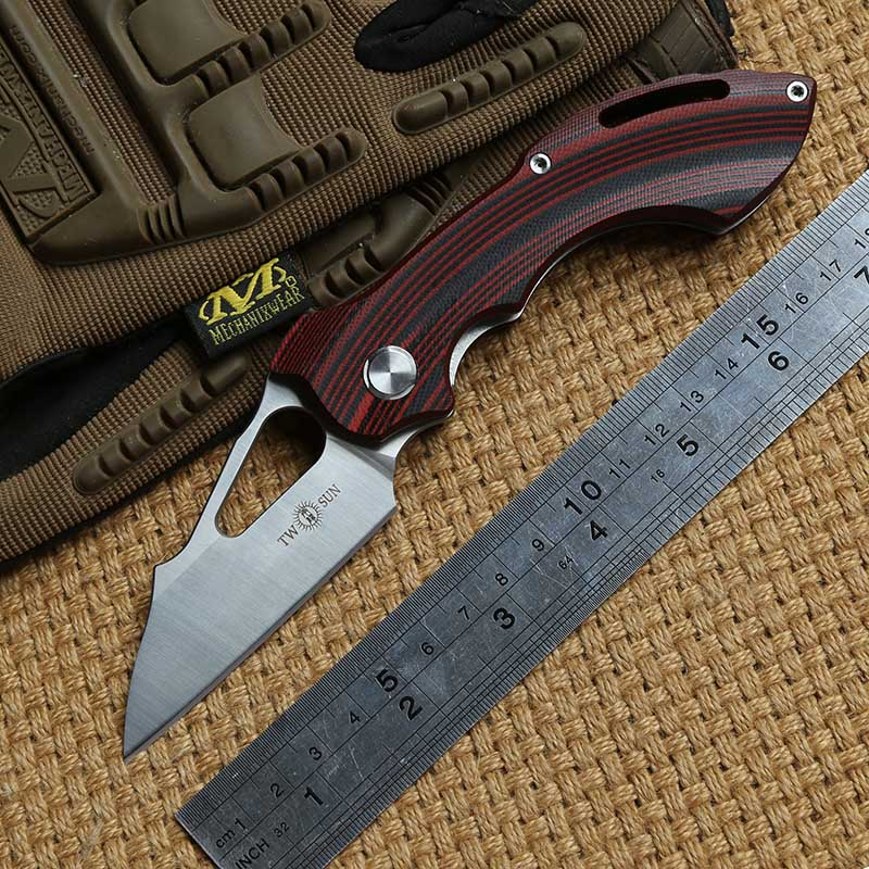 TWO SUN TS47 D2 blade G10 handle Ball bearing folding knife camping hunting Pocket knives outdoor