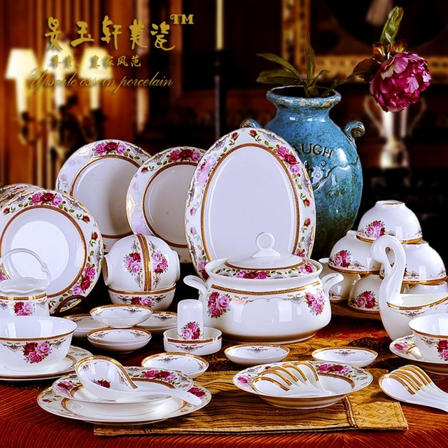 High-end gift dishes Jingdezhen tableware bowl set household ceramic bone china European porcelain wedding & High end gift dishes Jingdezhen tableware bowl set household ceramic ...