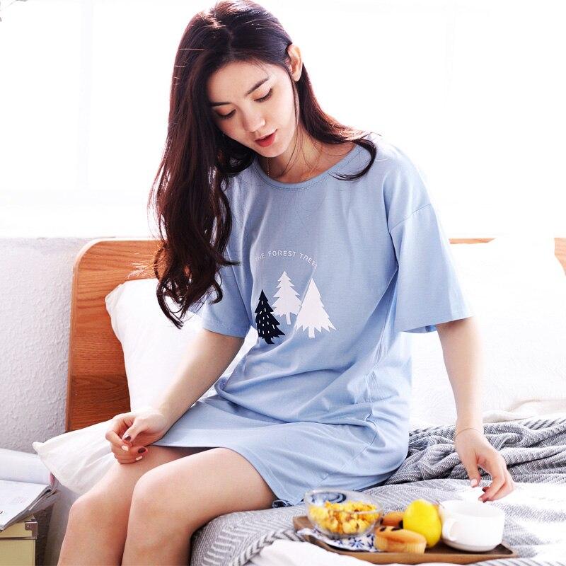 Summer Women 100%Cotton Nightgowns Short-sleeve Dress Cute Girls Sleepwear Cartoon Printed Nightwear M-XXL Free Shipping