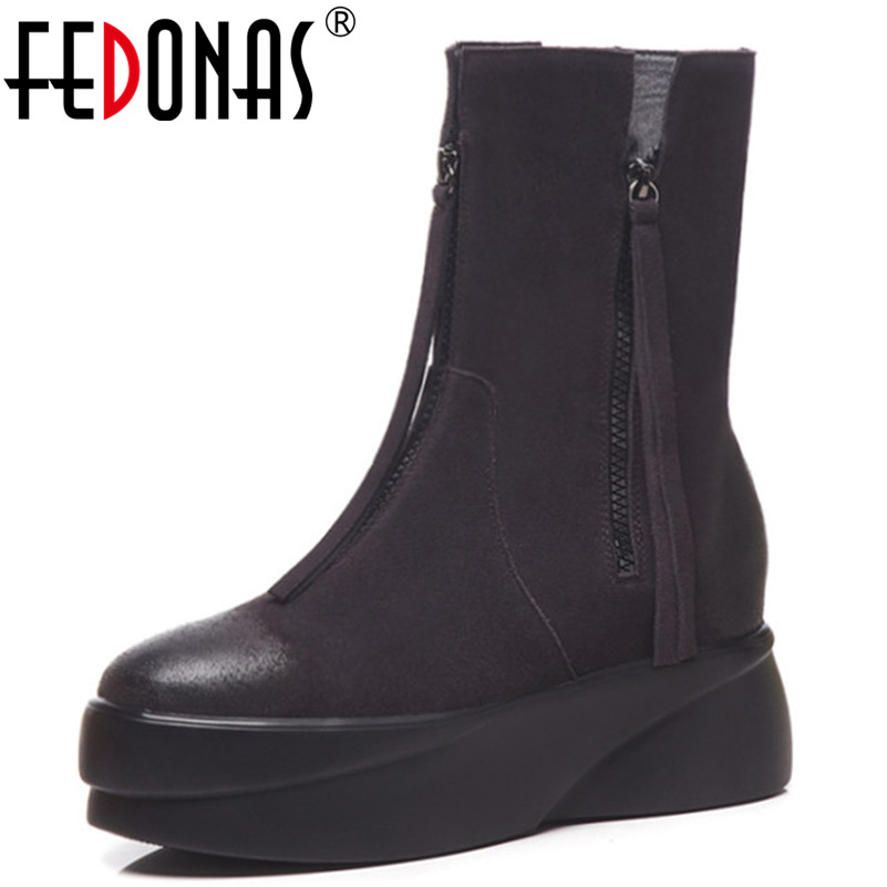 FEDONAS Fashion Brand Tassels Ankle Boots For Women Wedges High Heels Autumn Winter Basic Boots New Arrival Punk Party Shoes
