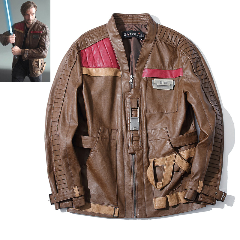 Quality Star Wars Jacket Coat The Force Awakens Finn Jacket PU Leather Motocycle Jacket for Men Male Cosplay Costume M-4xl