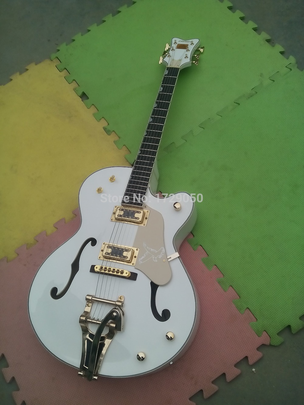 free shipping white gretsch falcon 6120 semi hollow body korean tuners jazz electric guitar with. Black Bedroom Furniture Sets. Home Design Ideas