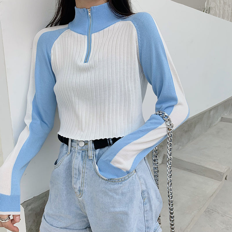 Girls Autumn Casual Zipper Turtleneck Knitted Full Sleeve Cropped Sweaters Pullovers Woman Patchwork Chic Crop Tops Female