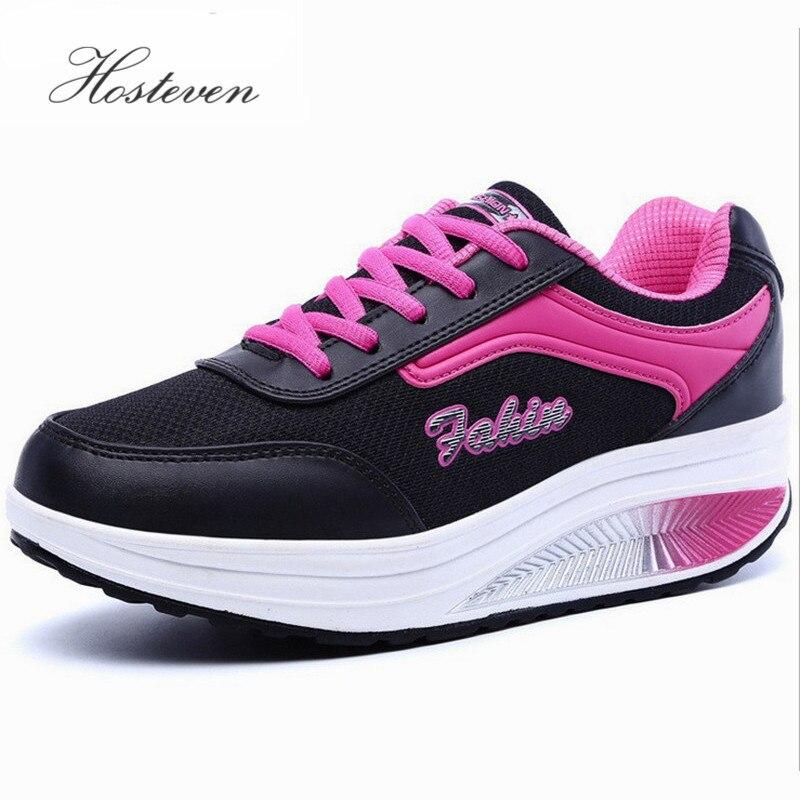 Nouveau Respirant Air Mesh Minceur Femmes Chaussures de Fitness Dentelle Jusqu'à la Plate-Forme Casual Chaussures Low Top Hauteur Croissante Chaussures de Swing
