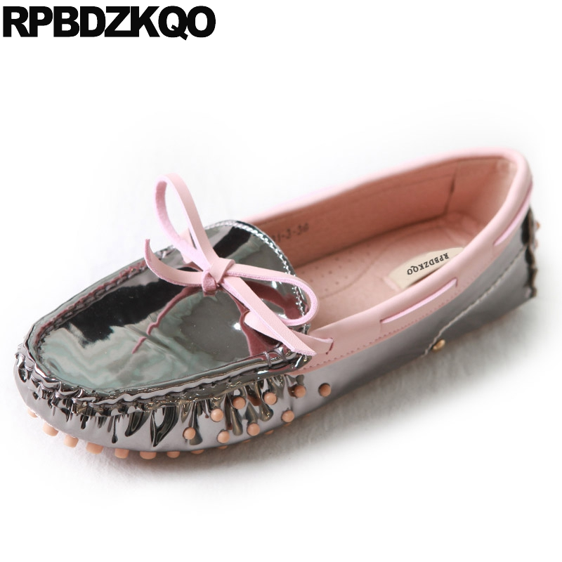 Moccasins Boat Round Toe Flats Patent Leather Women Spring Autumn Ladies Metallic Beautiful Shoes Mirror Lace Up Latest European women shoes spring autumn genuine leather flat shoes round toe lace up flats ladies moccasins