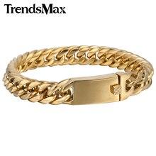 Trendsmax 12mm Ancho Chapado En Oro de Alta Calidad Mens Boys Curb Cadena de Eslabones de Acero Inoxidable 316L Pulsera HB341