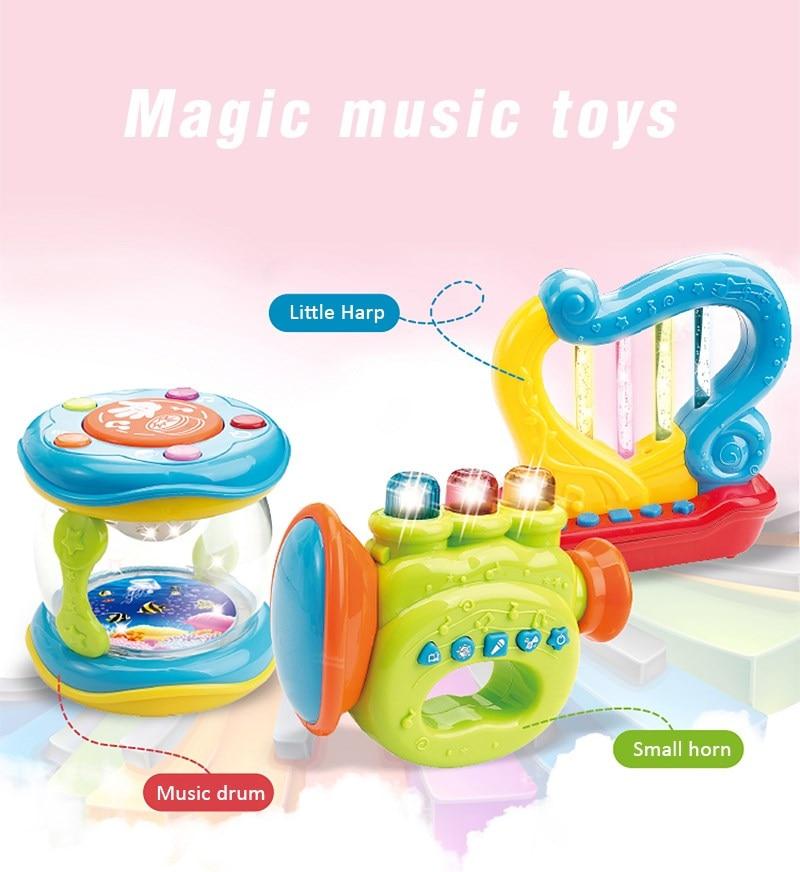 Children Infant Toys Mini Magic Hand Trumpet harp LED Music Early Childhood Educational Learning Developmental Baby Rattles