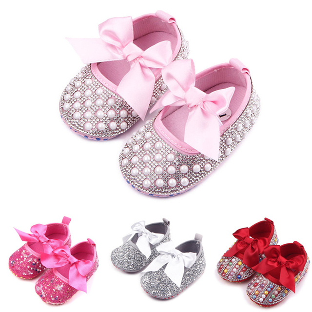 Princess 0-1 Newborn Baby Girls Bling Glitter Crystal Soft Soled Ribbon Bow Knot Decor Lovely Fashion Elastic Band First Walker