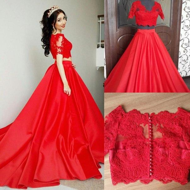 2019 robe de bal rouge longue deux 2 pièces robes de bal manches courtes Satin dentelle robes de soirée robe de soirée