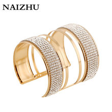 Gold Color Statement Bridal Bangles for Women Exaggerate Cuff Bracelets Femme Punk Full Crystal Solid Pattern Pulseiras(China)