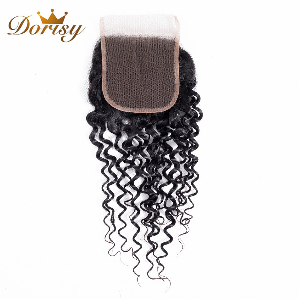Dorisy Hair 1 Pcs 4*4 Lace Closure Mongolian Kinky Curly Lace Closure 100% Non Remy 8-20 Inch Human Hair Weave Free Shipping