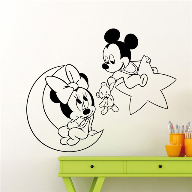 Mickey Mouse Minnie Maus Mond Sterne Wandtattoo Kindergarten Cartoon ...