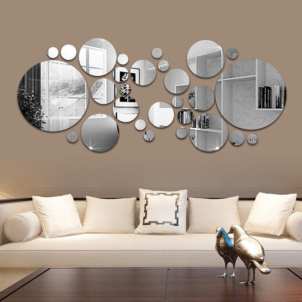 30Pcs 3D Mirror Round Removable Self Adhesive Wall Sticker Wallpaper Home Decor