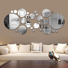 30Pcs 3D Mirror Round Removable Self Adhesive Wall Sticker W