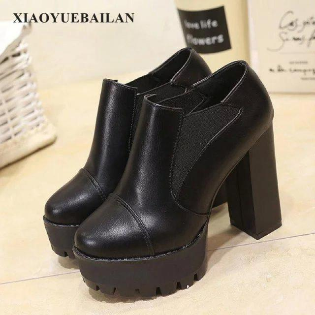 And WinterNew Short Shoe BootsMartin In From 982017Autumn Head Heel Women's SleeveCoarse Pumps High EnglishRound Heeled Us51 8wv0mNn