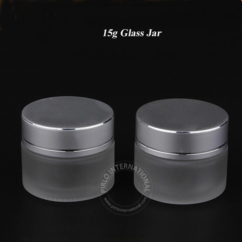 20st / parti 15g frostat glasburk tomt kräm kosmetisk förpackning - Hudvårdsverktyg