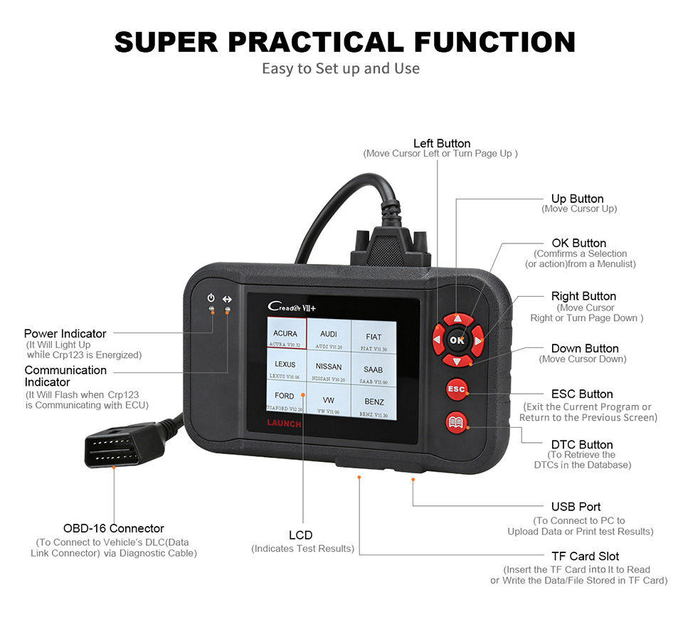 Image 4 - Launch Creader VII+ Launch CRP123 Auto Code Reader Launch X431 Creader VII Plus OBD2 Scanner OBDII Car Diagnostic Tool ABS SRS