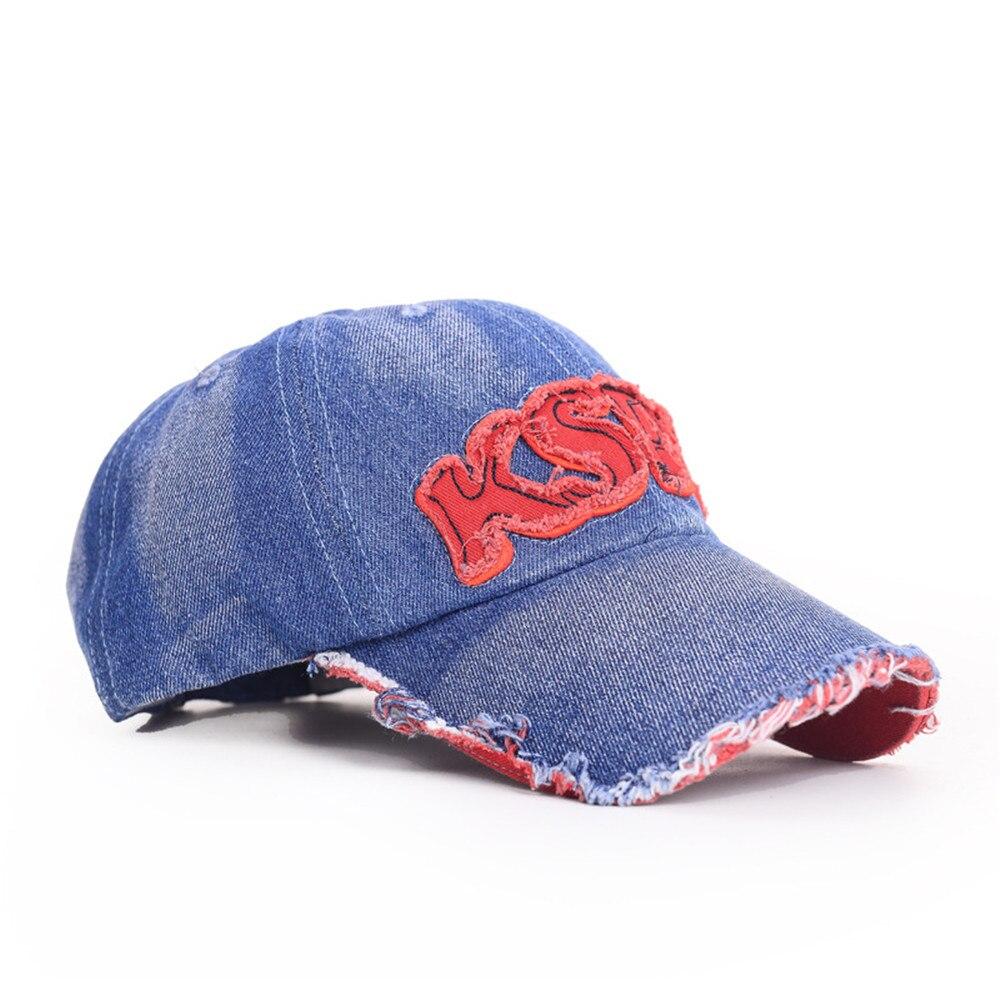 757e9e75457 Men Women cotton KSPN Baseball Cap blue denim jean adult Strapback Hat  Distressed Vintage Outdoor Sports cap for summer spring-in Baseball Caps  from Apparel ...