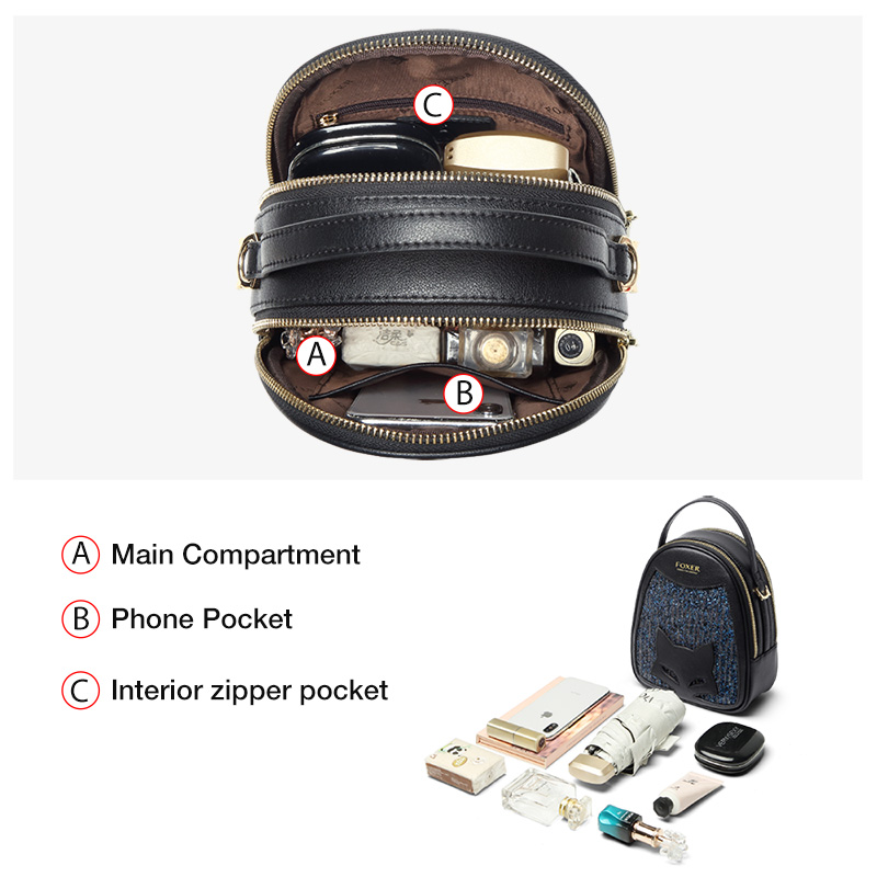 FOXER Gatty Leather Mini Shining Handbags Women