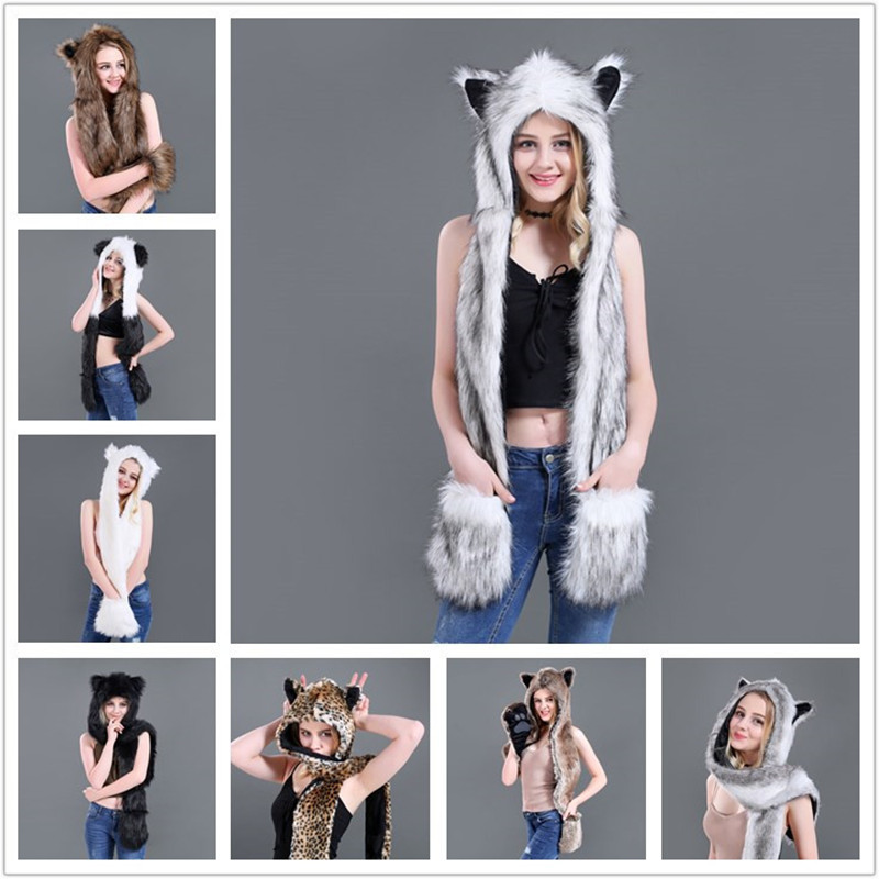 LaMaxPa Fashion Animal Women Scarf, Hat & Glove Sets 1Pcs Faux Fur Winter Warm Shawls And Wraps Hooded Fluffy Plush Dropshipping