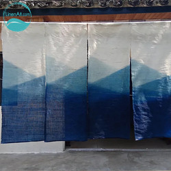 LinenAll original 100% ramie gradienten farbe tür vorhang pflanze blau färben vorhang