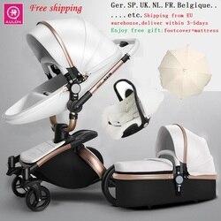 Frete Grátis Aulon/Querida Luxuoso Do Bebê Carrinho De Criança 3 em 1 Alta terra-scape Transporte Moda Europeu de design Carrinho De Bebê em 2019