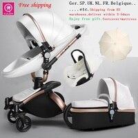 Frete Grátis Aulon/Querida Nenhum Imposto 3 em 1 Moda Carriage Europeu Luxuoso Do Bebê Carrinho De Criança Carrinho De Bebê Terno para Mentir e Assento