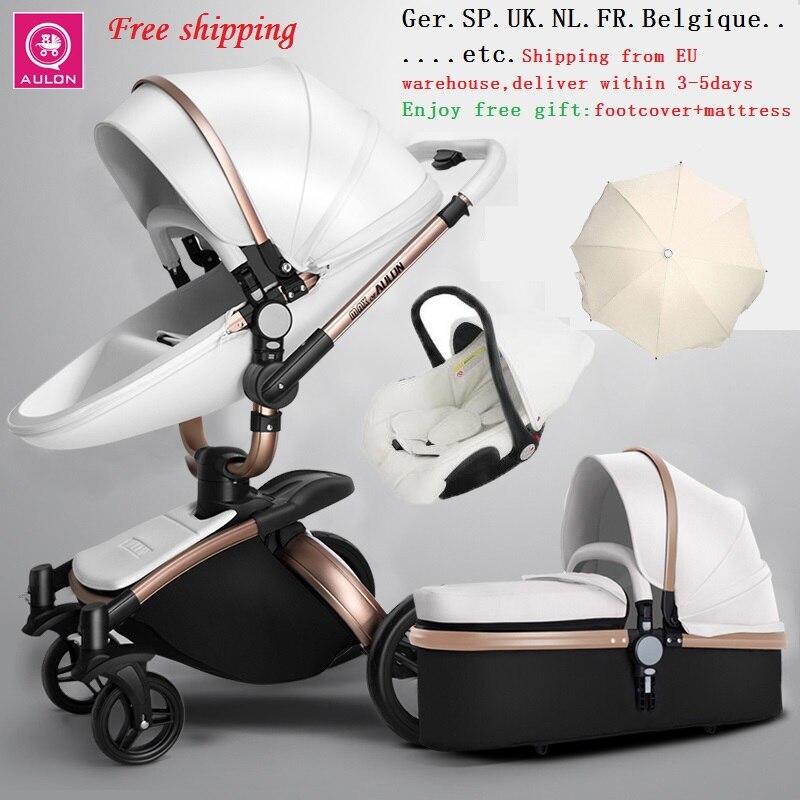 Livraison gratuite Aulon/plus cher luxe bébé poussette 3 en 1 haute terre-scape mode chariot design européen landau sur 2019