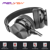 FELYBY Professional Collapsible Wired Wireless Dual Mode Bluetooth Earphones Headphones Gaming Headset for Phone with Stereo Mic