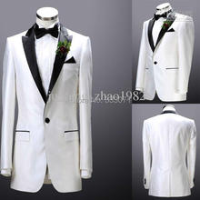 Custom by measure White Groom Tuxedos 2015 Men's Suits Groomsman Formal Bridegroom Wedding Party Dress Jacket+Pants+Tie bespoke