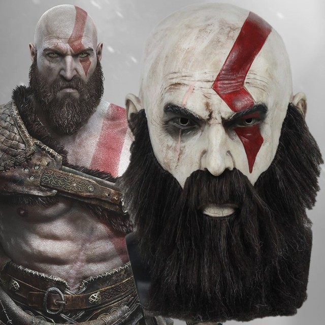 Low Cost Game God Of War 4 Mask With Beard Cosplay Kratos