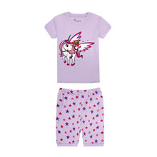 summer short sleeve unicorn pajamas for girls children's sleepwear kids clothing boys suits cars airplane truck pyjamas pijamas(China)