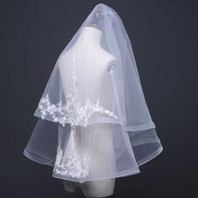 LORIE Two Layer Tulle Wedding Veils Short With Cut Edge White Lace Bridal Veil with Comb Free Shipping