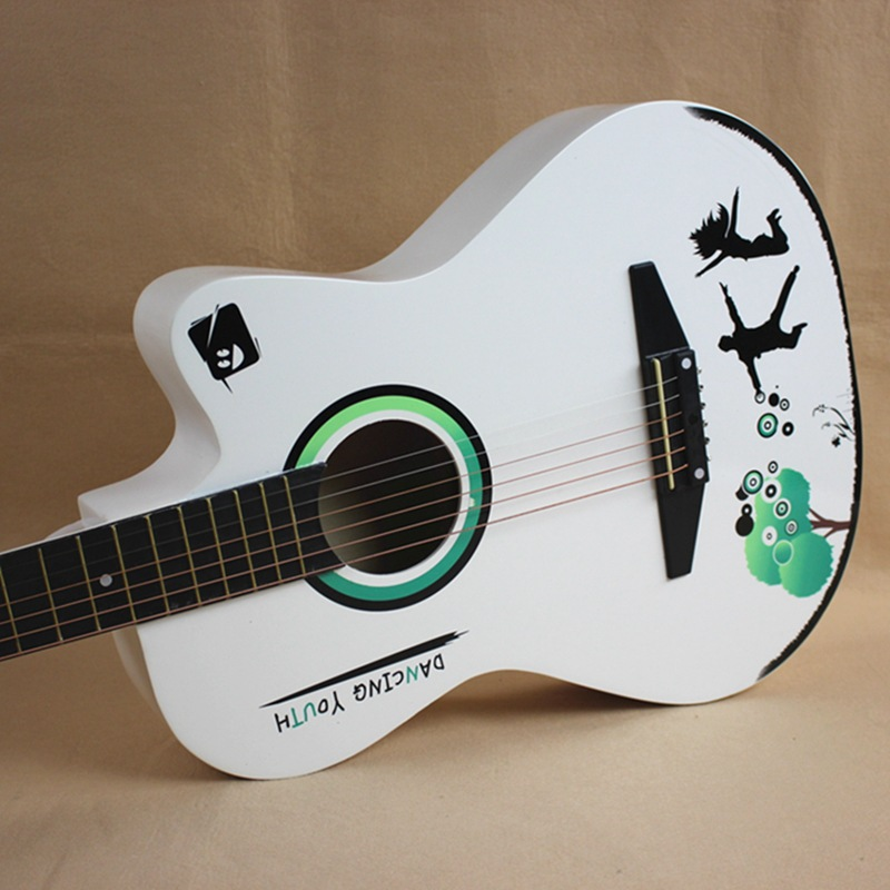 38 inch fashion design student white color string acoustic guitar