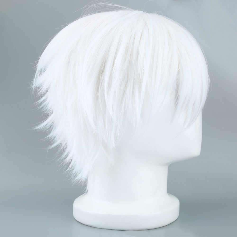 Tokyo Ghoul Cosplay Hairs Short Straight Silver Gray Color Silk Synthetic Hair Halloween Masquerade Party Costumes  2019 Fashion