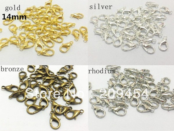 14mm 200pcs/lot 4 Colors For Choose Antique Bronze /Rhodium/Gold Plated Lobster Clasp Findings, Jewelry Lobster Clip Findings