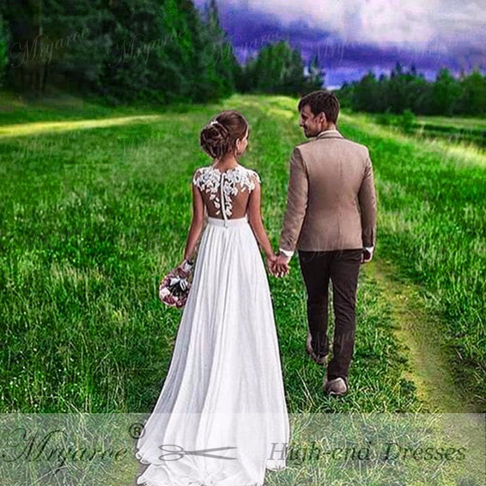 Mryarce Beach Wedding Dress 2018 Sheer Bodice Lace Appliqued  Flowing Chiffon Split Bridal Gowns With Cap Sleeves .