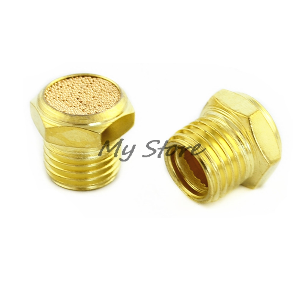 exhaust muffler thread (1/81/43/81/2) pneumatic plug silencer brass connector BSLM-01/02/03/04 for solenoid valve fitting qe 02 1 4 quick exhaust valve pneumatic valve