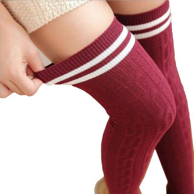65e98086271 2017 Japan Cute Style Preppy Stocking Women Medias Long Over Knee High Socks  Warm For Girls Cotton Overknee Striped Stockings
