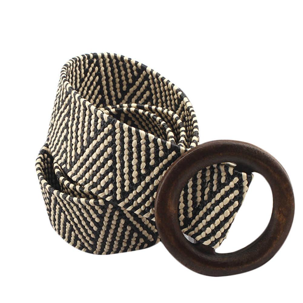 בציר Boho קלוע מותן חגורת קיץ מוצק נשי חגורת עגול עץ חלק אבזם מזויף קש רחב חגורות לנשים מכירה לוהטת