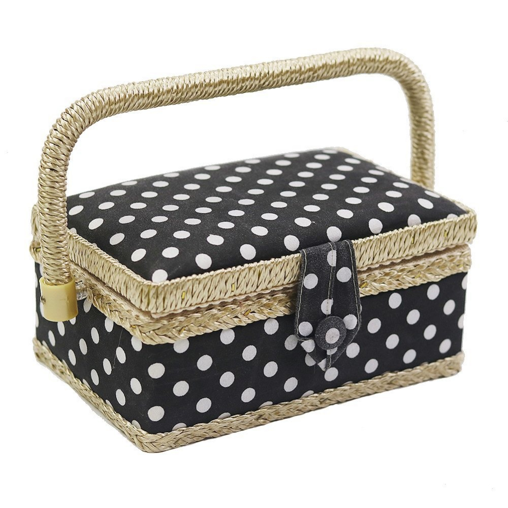 Household Sewing Storage Basket Hand woven Sewing Box Polka Dot Storage Box with Needle Thread Scissors