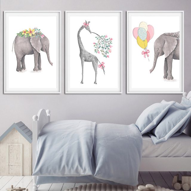 Nordic Style Cartoon Giraffe Elephant Animal Canvas Poster Art Prints for Baby Kids Nursery Painting Wall Picture Decoration