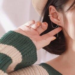 DAIWUJAN 1 çift 925 ayar gümüş kulak klipsi uzun püskül küpe kadınlar için zirkon kulak manşet küpe kulak hattı moda takı