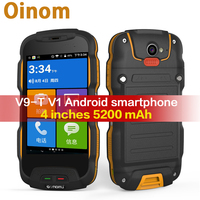 Oinom T9H V9 T V1 Android смартфон телефон Водонепроницаемая 4 дюймов 5200 мАч 4G LTE celuar мобильный Прочный противоударный IP68 две sim карты IP67