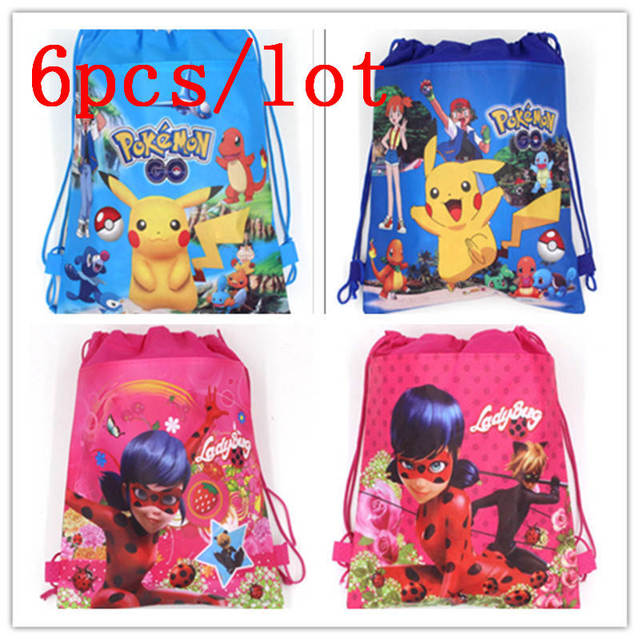a654cb19e Miraculous Ladybug 6Pcs School String Bags Girl Birthday Party Gift Bag Boy  Favor Cartoon Colorful Mochila