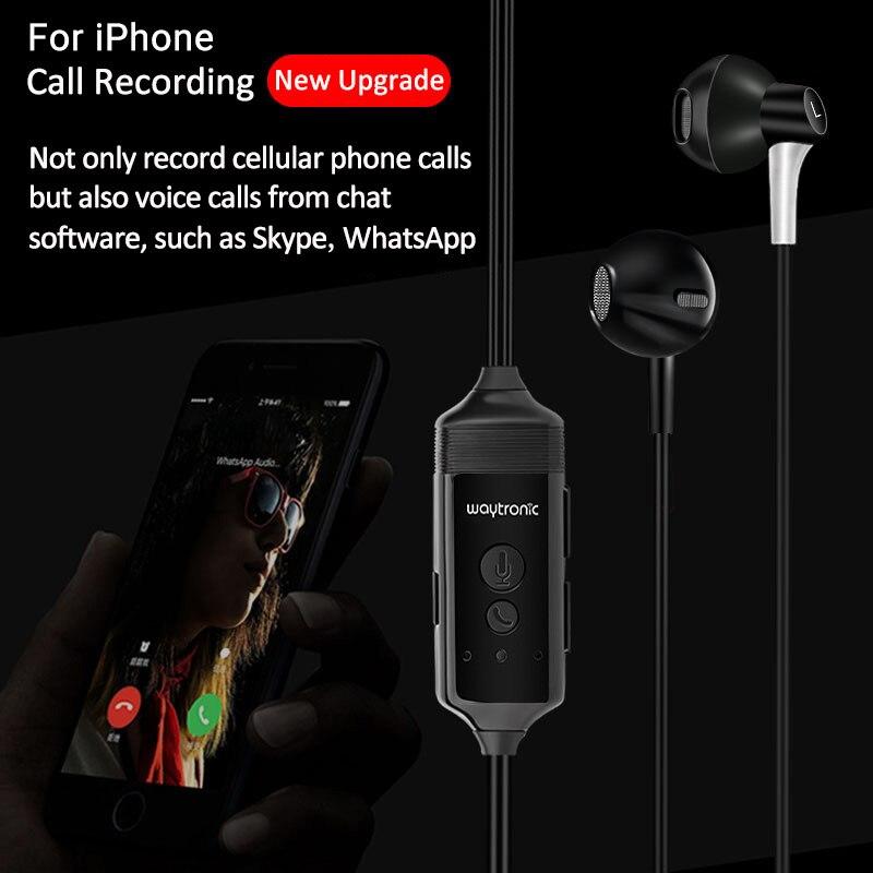 Casque d'enregistrement d'appel de téléphone cellulaire pour iPhone WhatsApp Skype Facebook QQ WeChat écouteur d'enregistrement d'appel vocal avec l'application iOS