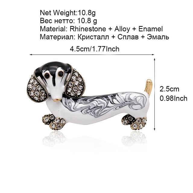 ALLYES Cute Dachshund Dog Brooches For Women Fashion Metal Crystal Enamel Animal Brooch Jewelry 5